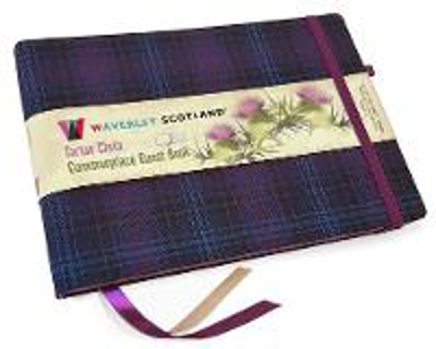Picture of Guest Book - Kinloch Anderson Thistle Tartan cloth: Waverley Scotland Genuine Tartan Commonplace Series (16cm x 24cm)