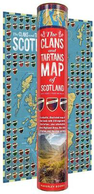 Picture of The Clans and Maps of Scotland Map (rolled in a tube): A colourful, illustrated map of clan lands with 150 registered clan tartans, plus information about Highland Dress, the story of tartan, and the clan system.